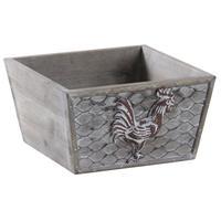 Photo CCO9280 : Corbeille carrée en bois et métal