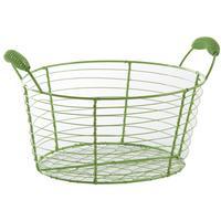 Photo CDA5640 : Corbeille ronde en métal laqué vert