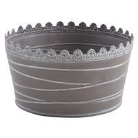Photo GCO3020 : Corbeille ronde en métal laqué gris taup...