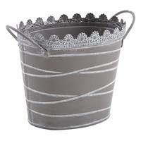Photo GCO3030 : Corbeille en métal laqué gris taupe