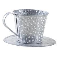 Photo GCO3460 : Tasse en métal avec pois blancs