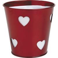 Photo GCP1501 : Pot en zinc rouge motifs coeurs