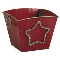 Photo GCP1990 : Corbeille en métal laqué rouge avec étoi...