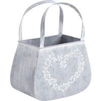 Photo GPA1270 : Panier en zinc blanchi motif coeur