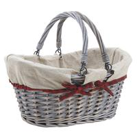 Photo PAM3280J : Panier en osier fendu gris