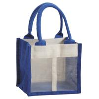 Photo VBO1930 : Sac porte-verrine en jute teintée bleue