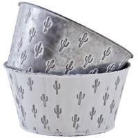 Photo GCO4100 : Corbeille ronde en métal motif cactus
