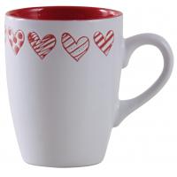 Photo TDI2420V : Mug en grés blanc, motifs coeurs tout au...