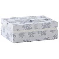 Photo VBT3060 : Boîte carrée en carton blanc avec flocon...