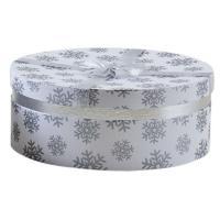 Photo VBT3071 : Boite ronde blanche en carton avec motif...