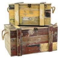 Photo VCO255S : Coffres en bois recyclé vielli