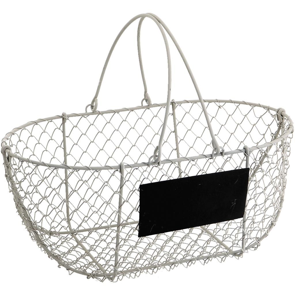 panier en grillage blanc vieilli pam2560 vannerie pack. Black Bedroom Furniture Sets. Home Design Ideas