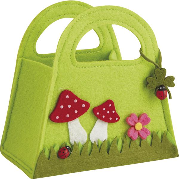 mini sac en feutrine champignon scf1060 vannerie pack. Black Bedroom Furniture Sets. Home Design Ideas
