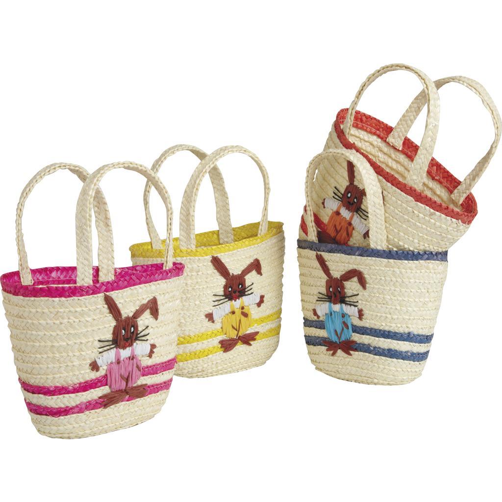 Cabas enfant en paille motif lapin SEN1170 | Vannerie Pack