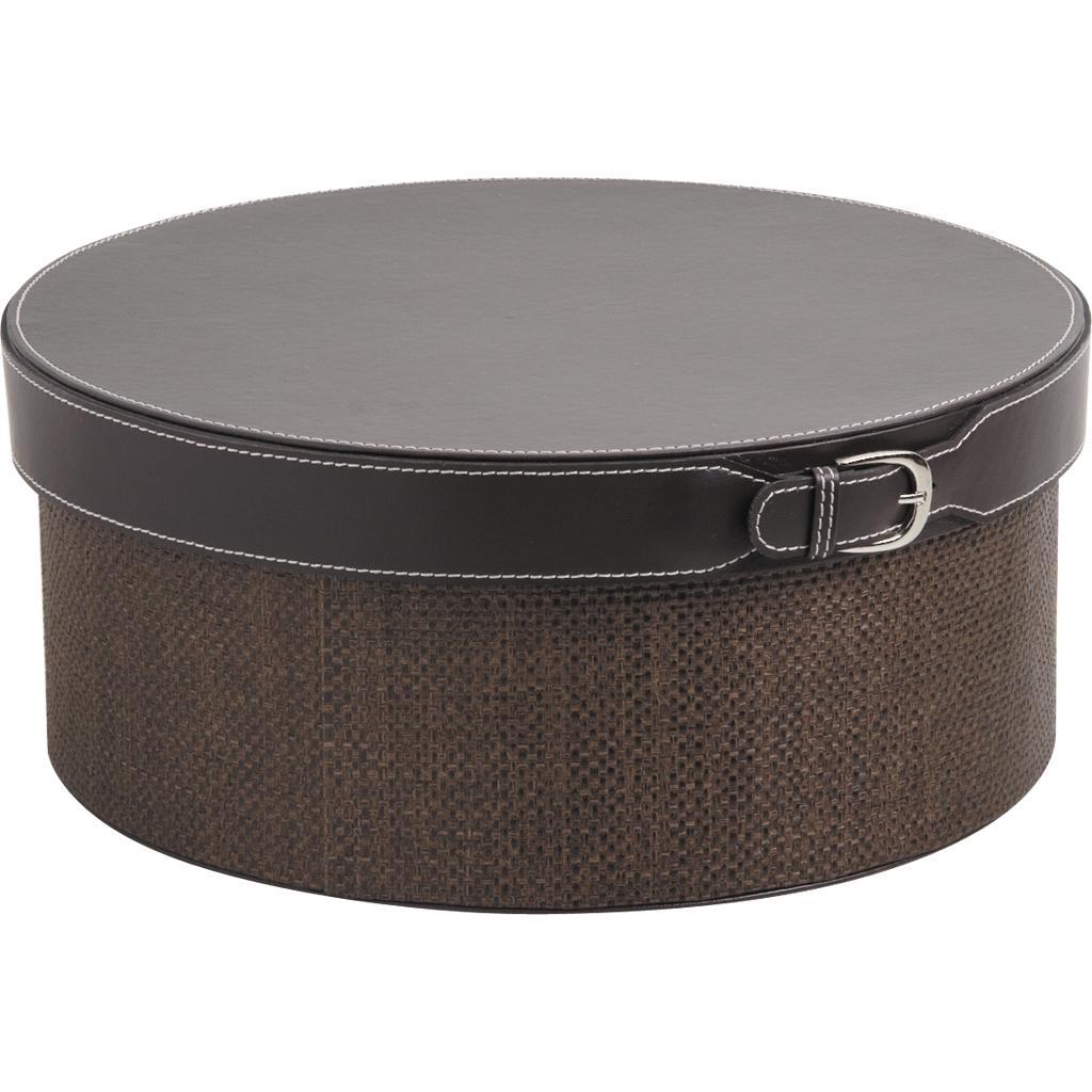 boite ronde en simili cuir marron vbt2241 vannerie pack. Black Bedroom Furniture Sets. Home Design Ideas