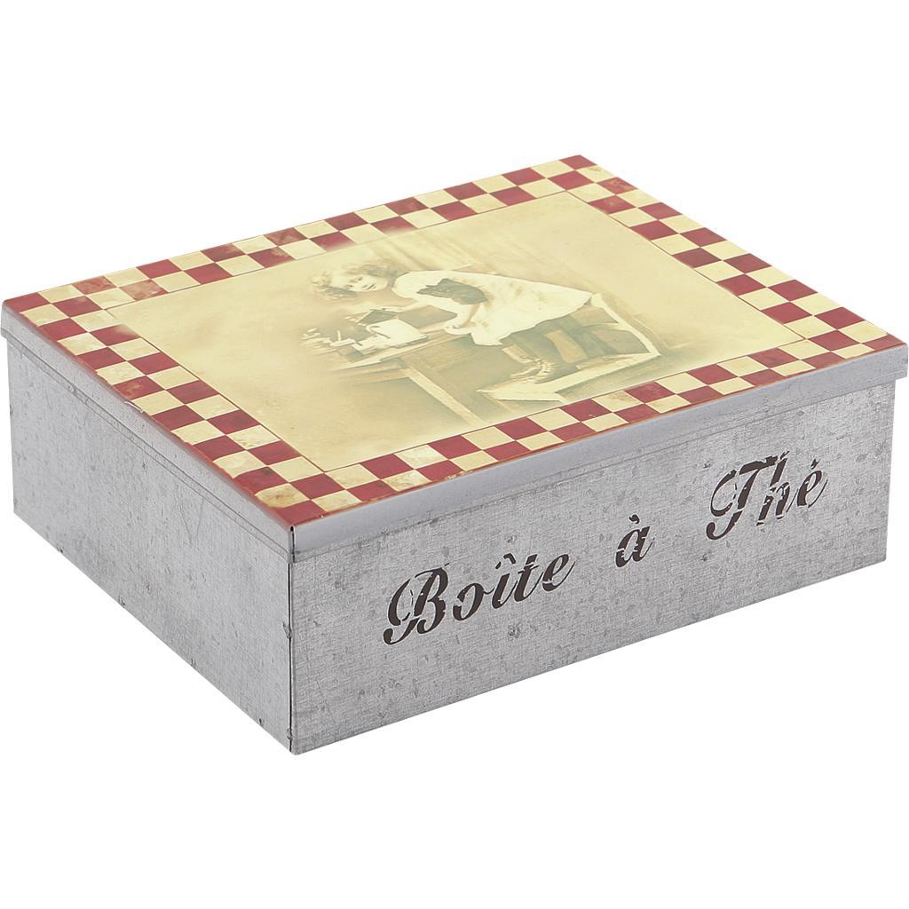 Boite th en m tal 6 compartiments vcp1100 vannerie pack - Boite a the en metal ...