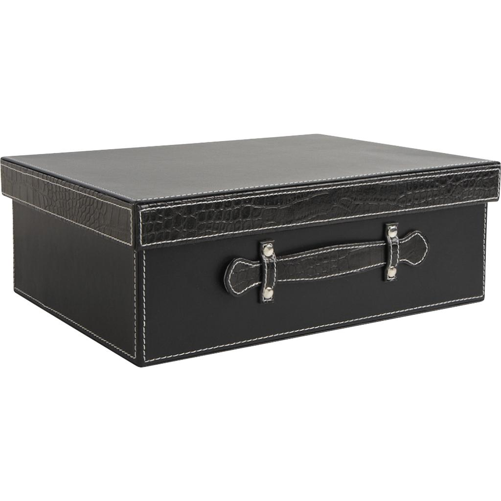 valise en simil cuir noir et croco vva1760 vannerie pack. Black Bedroom Furniture Sets. Home Design Ideas